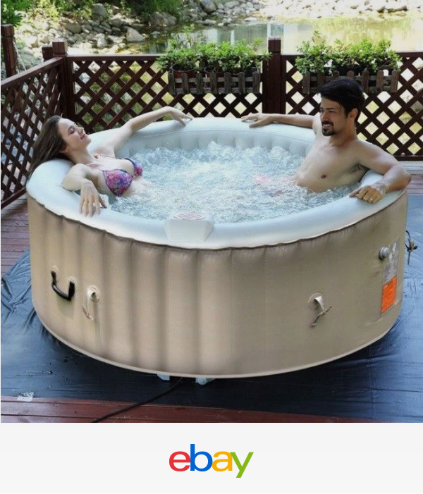 Inflatable Hot Tub Portable 4 Person Massage Spa Heated Water 130 Jets Outdoor Wood Chair Outdoor Diy Bench Portable Hot Tub Inflatable Hot Tubs Hot Tub