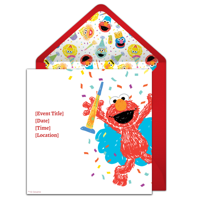 Customizable Free Elmo Scribble Online Invitations Easy To Personalize And Send For A Birthday Party Punchbowl