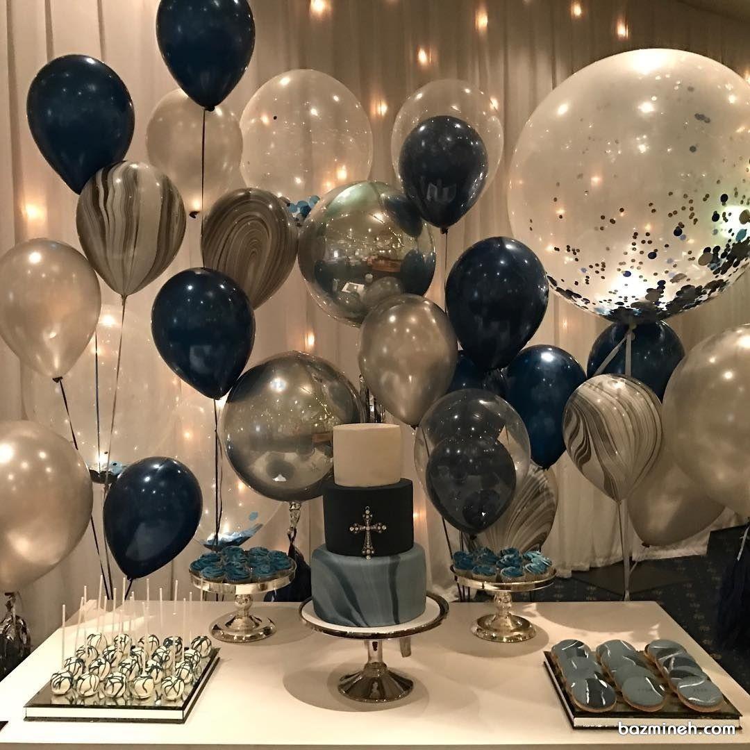 دکوراسیون و بادکنک آرایی جشن تولد بزرگسالان با تم سرمه ای نقره ای Birthday Balloon Decorations Diy Birthday Decorations Gold Birthday Party