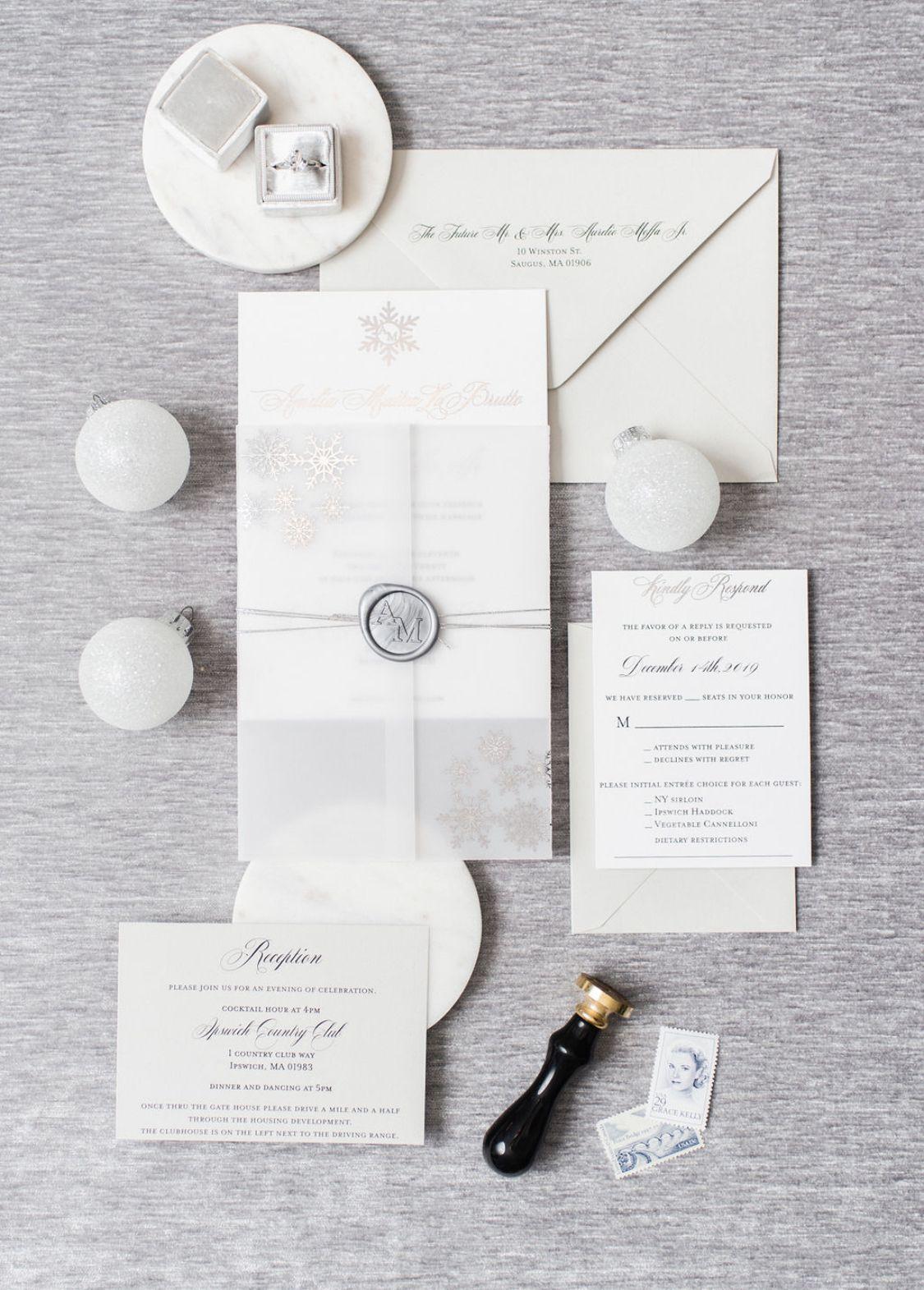 Winter Wonderland Inspired Wedding Invitation Printed In Silver Foil Vellum Winterwonderland Silverfoil Silver Wedding Invitations Elegant Wedding Invitations Box Wedding Invitations