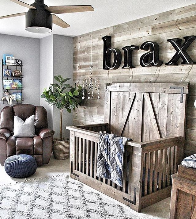 "Project Nursery on Instagram: ""Some rustic nursery love for you! What do you think of this custom crib? �: @thetrayertribe"""