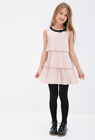 Tiered Pleated Shift Dress Kids Forever21 Girls