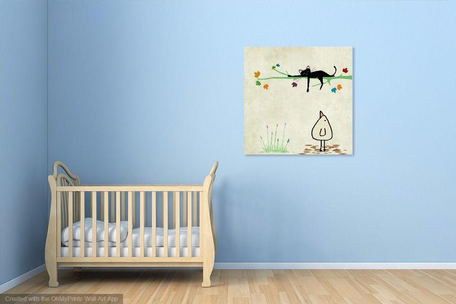 Kinderbilder fürs kinderzimmer katze  Katze schläft | Kindergarten leinwand, Kinder Wandbilder und ...