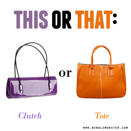 "Let's play ""This or That""! Do you like the compact look of a sleek clutch or do you prefer comfort in being able to carry more things with a roomy tote? #fashionclutch #fashiontote #shopbm #bundlemonster http://www.bundlemonster.com/fashion/womens/handbags.html"