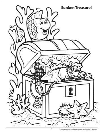 Sunken treasure chest coloring page crafts pinterest for Treasure chest coloring pages printable