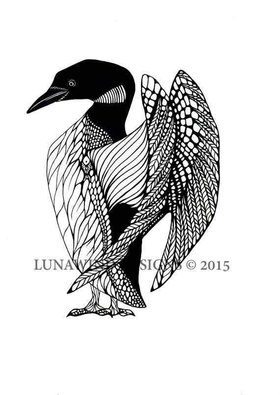 hand drawn pen and ink loon bird hand signed print loons in 2018