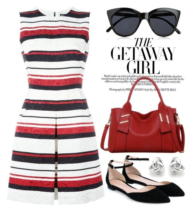 """Striped dress"" by boxthoughts ❤ liked on Polyvore featuring Dolce&Gabbana, Gianvito Rossi, LineShow, Le Specs and Georgini"
