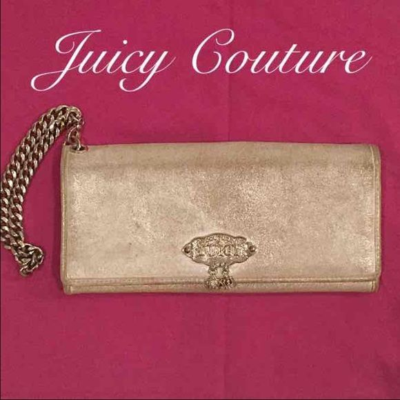 Juicy Couture Silver Wallet Wristlet Silver Juicy Couture Wallet, wristlet or Clutch with silver chain and two charms. The third charm broke off and the signs of love are pictured. It has 6 card slots and a zipper pouch for coins. The signs of love are pictured! Make an offer! Juicy Couture Bags Wallets