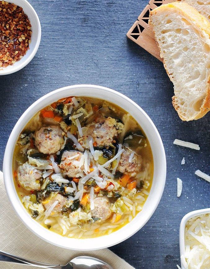 Italian Wedding Soup With Orzo Meatballs
