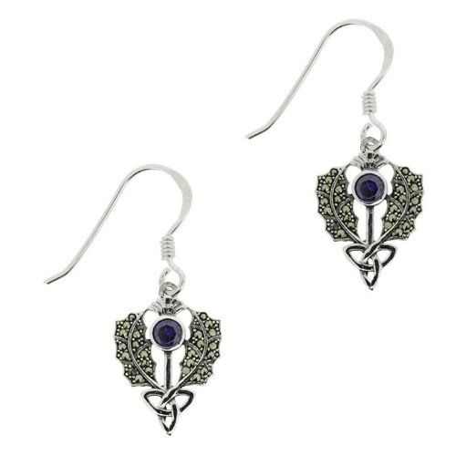 Schottische Distel Silber Ohrringe Markasit & Amethyst