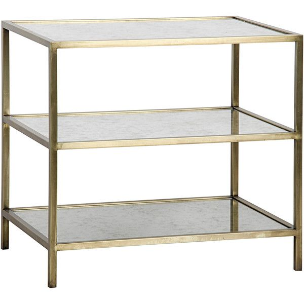 Mackinley Modern 3-Tier Antique Glass Brass Metal Side Table ($1,260) ❤ liked on Polyvore featuring home, furniture, tables, accent tables, rectangle side table, inlay furniture, rectangular glass table, glass occasional tables and rectangle end table