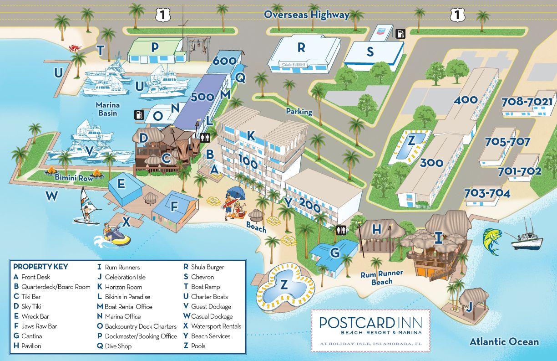 A property map of the Postcard Inn Holiday Isle Resort  Marina