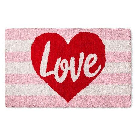 "Pink Valentine's Love Hooked Rug 18""x30"" New Kitchen Mats Target 2018"