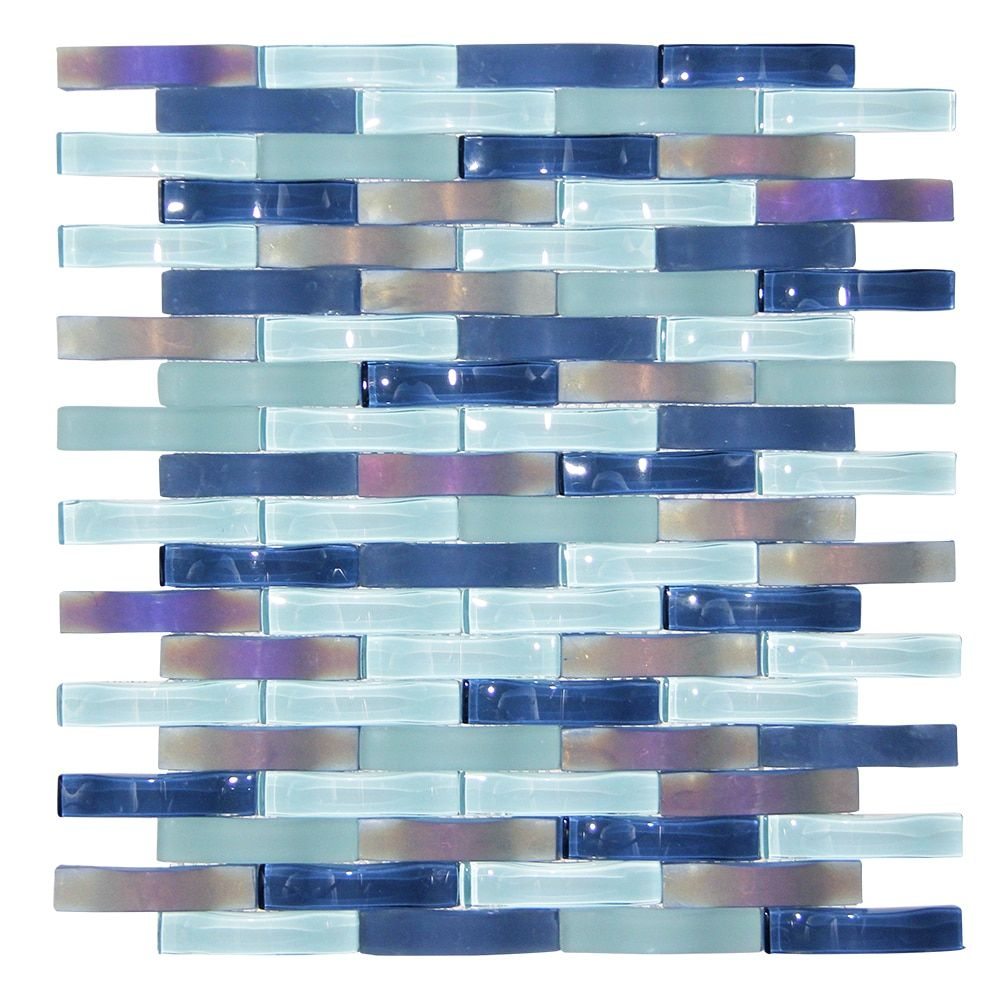 Ripple Stream Blue Wavy Mosaic Glass Tile Glass Backsplash