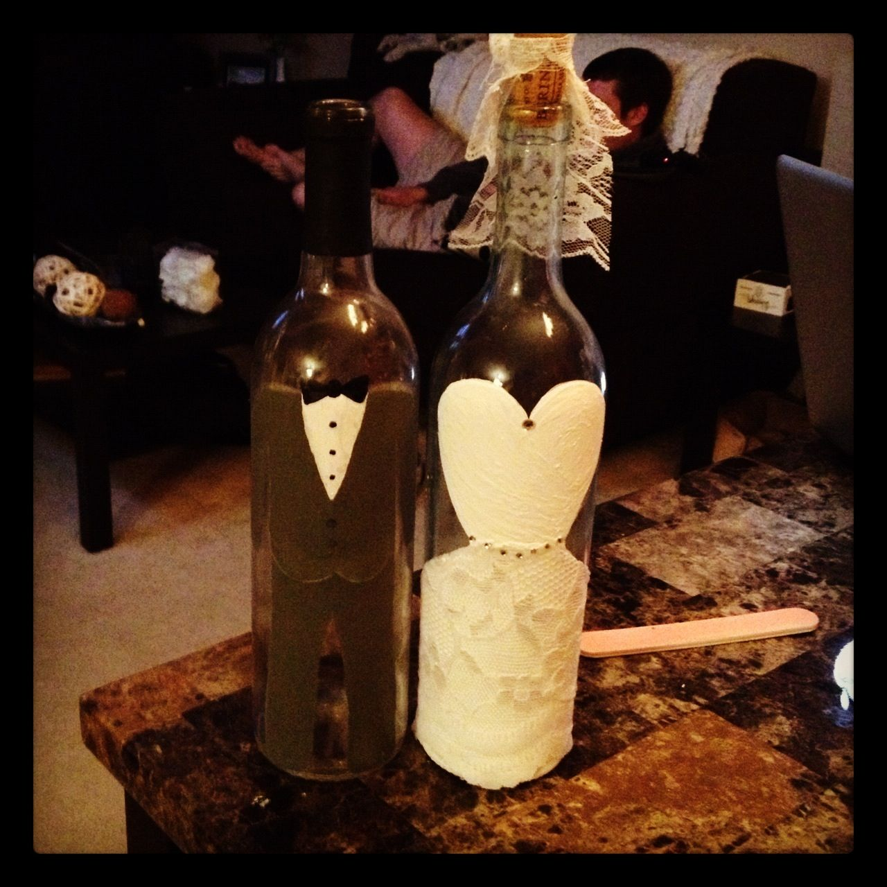 wine wedding shower gift poem%0A I painted wine bottles with acrylic paint   u     glued on lace for bride and  groom