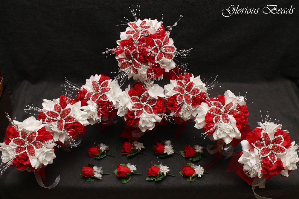 Red BEADED Flower Lily Quinceanera Bouquet 16 PC Set FREE