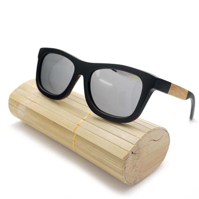 ff8e7257b05 BOBO BIRD Black Wood Bamboo Polarized Sunglasses Mirrored Silver Glasses UV  Protection