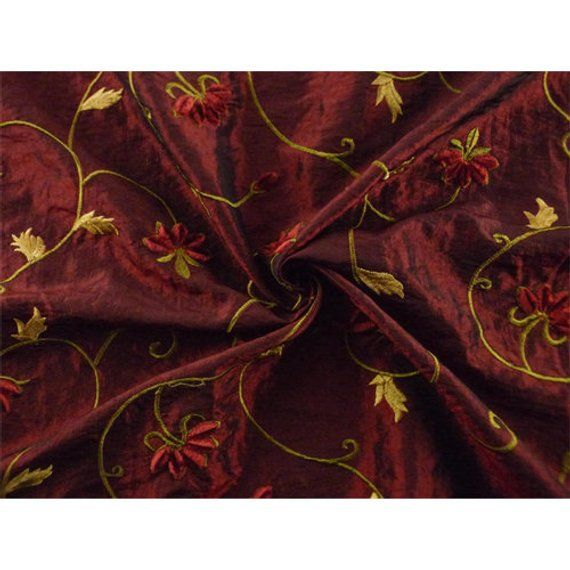 Copper Red With Embroidered Spots Taffeta Type Curtain Fabric.