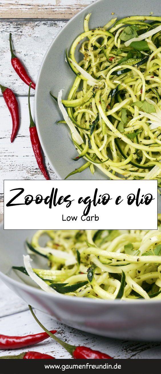 Rezept für kohlenhydratarme ZucchiniSpaghetti aglio e olio  Turboschnelle kohlenhydratarme Zoodles aglio e olio  ein einfaches und vegetarisches Abendessen