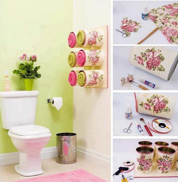 #HazloTúMisma - Envases para toallas. #Decoración #baño www.universal.org.mx