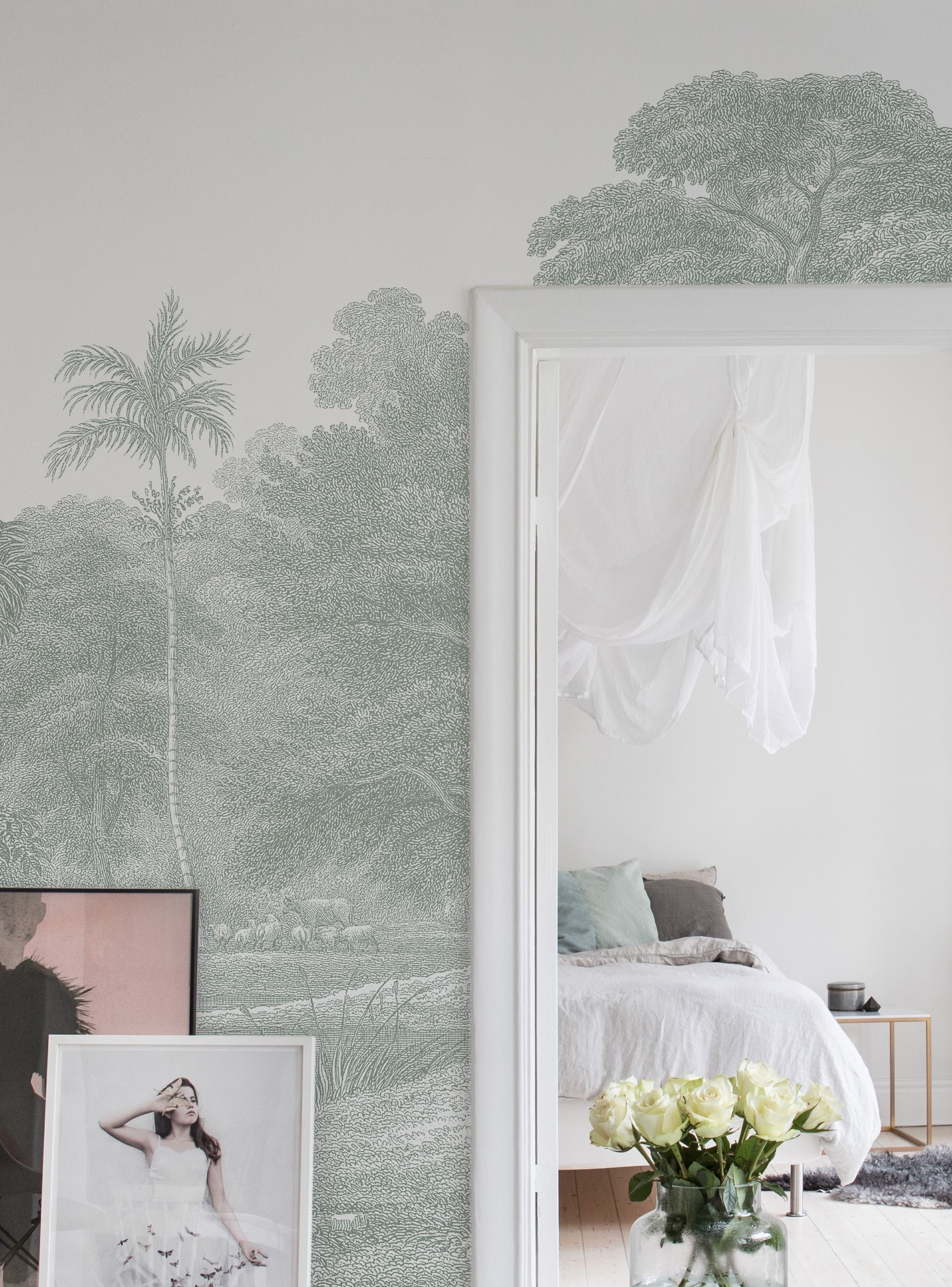 jungle land verdant tapeten f r 39 s schlafzimmer. Black Bedroom Furniture Sets. Home Design Ideas