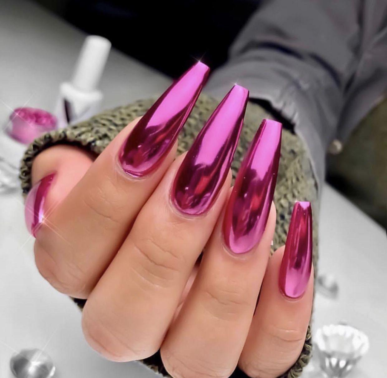 Chrome Magenta Nails Pink Nail Art Pink Nails Long Nail Designs