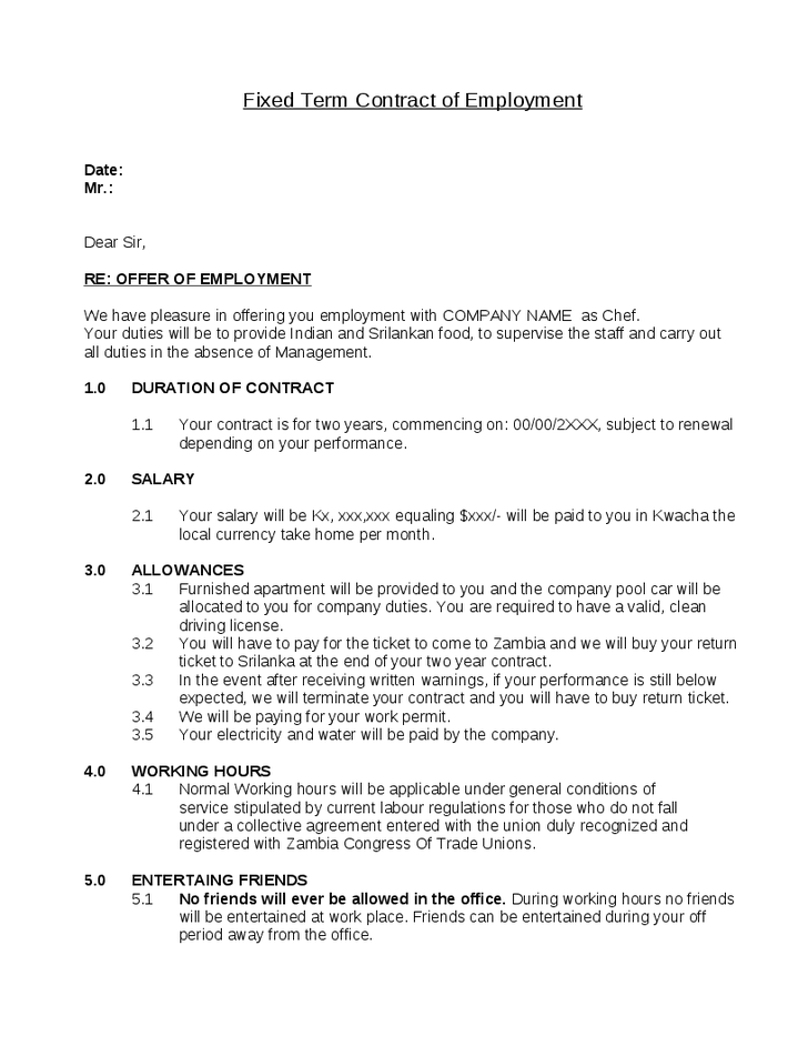 Fixed Term Contract Of Employment  Words