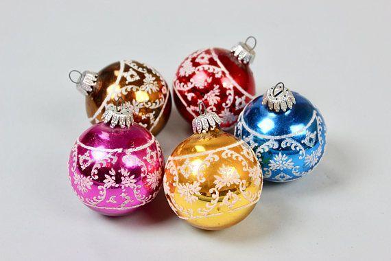 5 vintage weihnachts kugeln christbaumschmuck weihnachtsschmuck pink gold rot t rkis - Weihnachtskugeln vintage ...