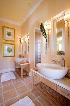 Peach Tile Floor Design Ideas Pictures, What Color Goes With Peach Bathroom