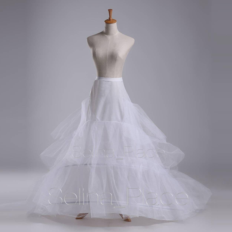 White 2 Hoop Train Wedding Dress Bridal Gown Crinoline Petticoat Skirt Slip