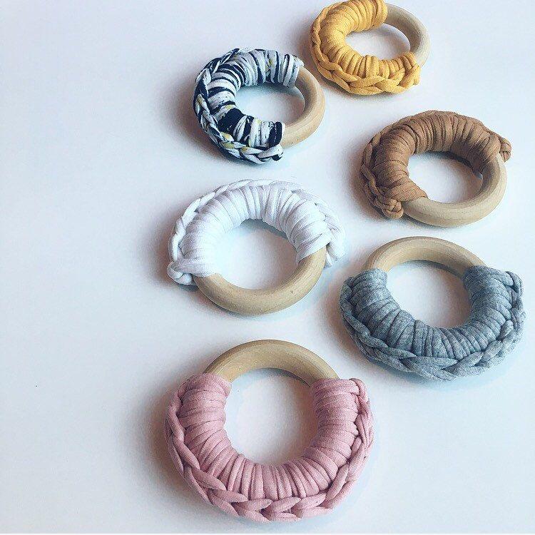 Fabric Yarn Crocheted Ring Teether -- Eco-friendly wooden Ring -- crocheted wood -- Baby Teether by NomiLu on Etsy https://www.etsy.com/listing/229586084/fabric-yarn-crocheted-ring-teether-eco