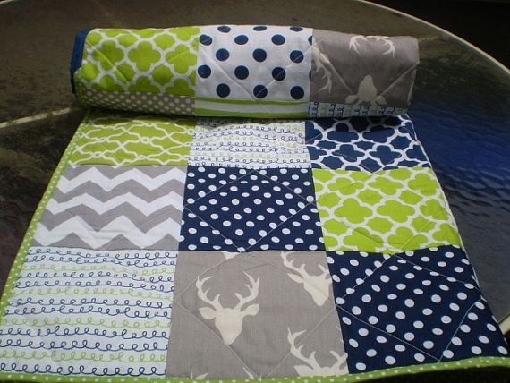 Baby Quilt Navy Grey Lime Green