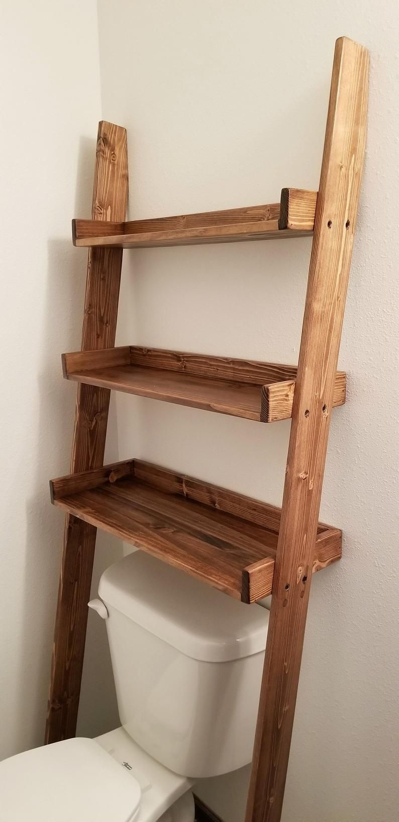 Over The Toilet Ladder Shelf Over The Toilet Storage Bathroom Storage Bathroom Shelving Bathroo In 2020 Toilet Storage Over The Toilet Ladder Over Toilet Storage
