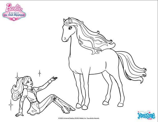 Coloriage de barbie en tenue de cavali re devant son beau et grand cheval un coloriage pour - Chevaux barbie ...