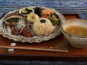 Enjoy a farm lunch next to rice fields and grazing goats