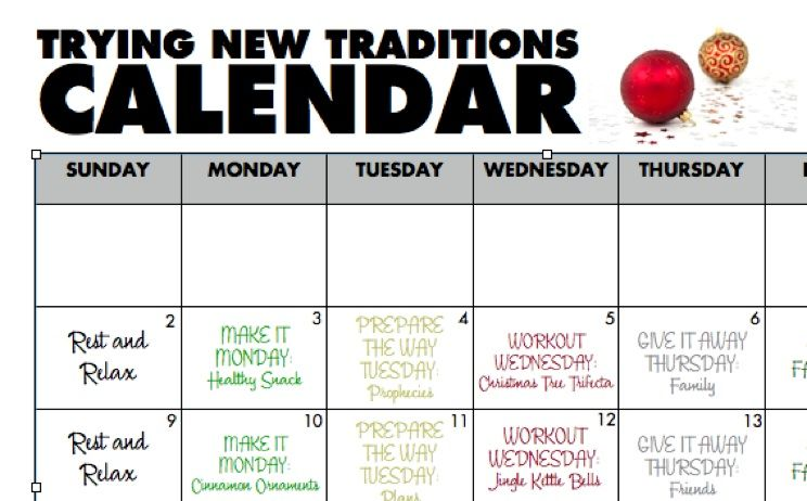 Try New Traditions and print out your December Workout Calendar