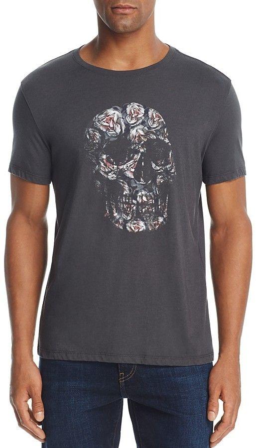 John Varvatos Mens Short Sleeve Floral Skull Graphic Crew T-Shirt