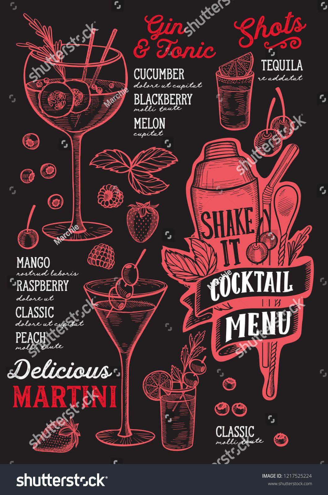 Cocktail Menu Template For Restaurant On A Blackboard Background Vector Illustration Brochure For Foo Cocktail Menu Restaurant Menu Design Menu Design Template