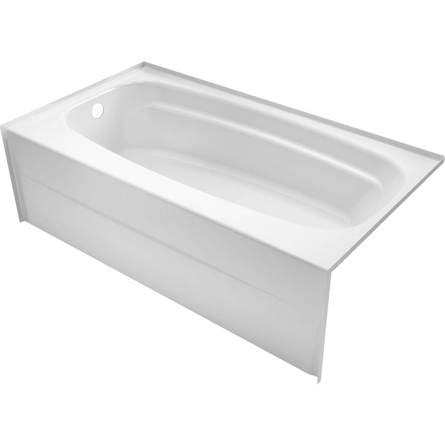 Delta Styla White Acrylic Rectangular Skirted Bathtub With Left Hand Drain Common 30 In X 54 In Actual 16 In X 27 87 In X 5 Bathtub Delta Faucets Tub Doors