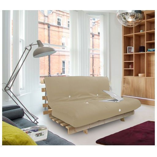 Leather Sectional Sofa Stone Studio Futon Wooden Frame Sofa Bed Thick Sleeping Mattress Student Dig
