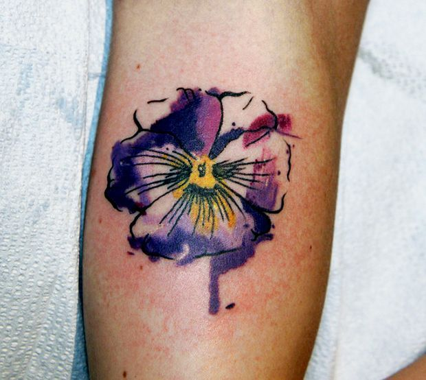 watercolor wood violet tattoo | tattoos | Pinterest ...