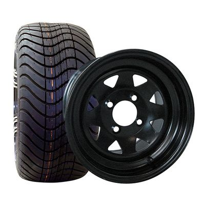 12 Inch Golf Cart Low Profile Tire Wheel Combo All Black Black Steel Wheels Steel Wheels Black Steel