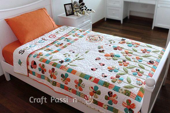 Quilt   Secret Garden Trapunto Quilt   Free Pattern & Tutorial at CraftPassion.com