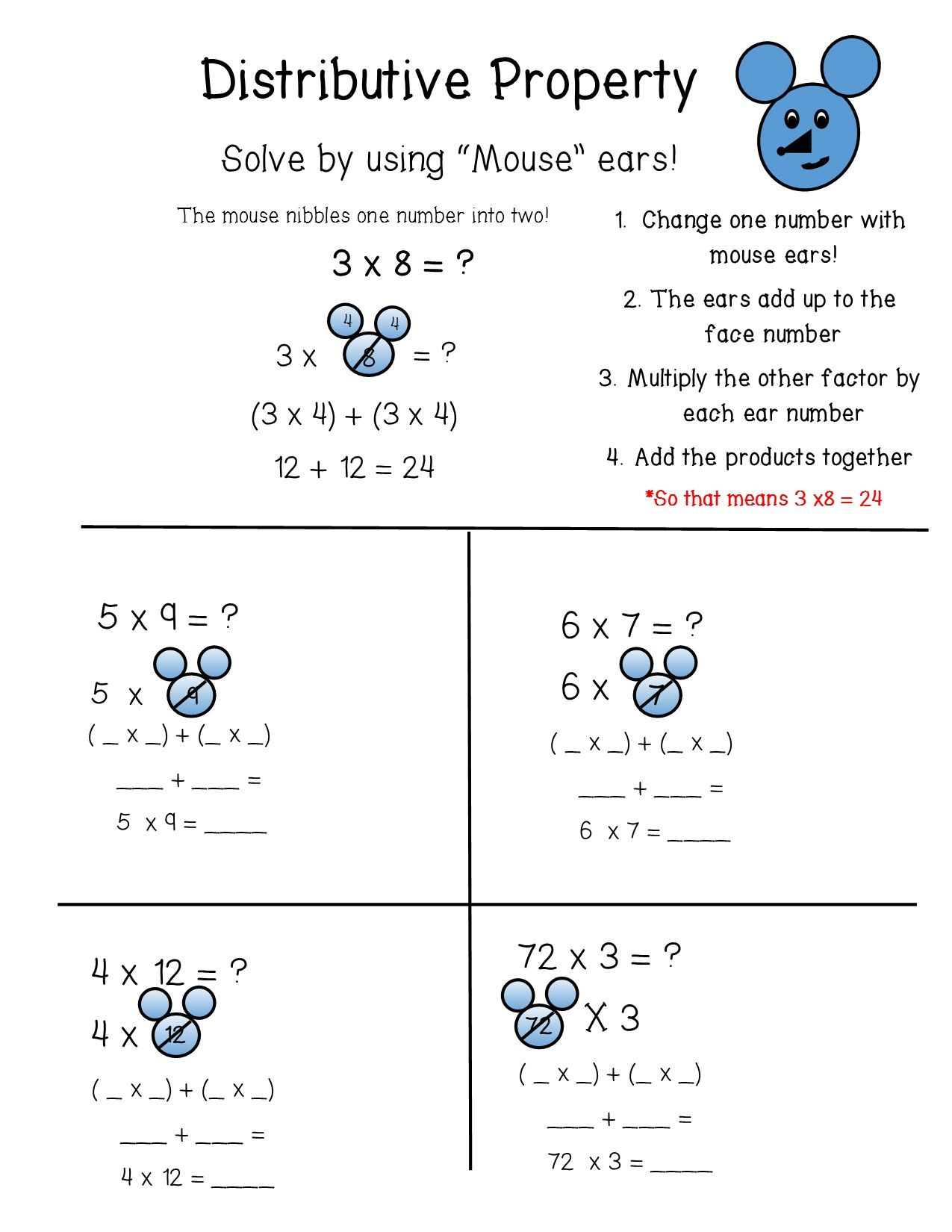 The Distributive Property Of Multiplication Is Broken Down Into Easy Steps By Using The Mouse Metho Upper Elementary Math Distributive Property Elementary Math