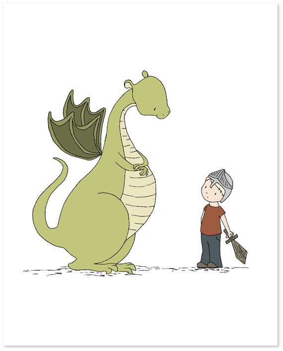 Dragon nursery art boy meets dragon dragon art print for Kinderzimmer ritter deko