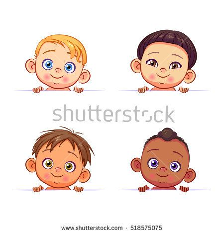 1eb2f52c65e Vector set of multi-ethnic baby boys holding a white banner. Cute kids of  different races with various hairstyles.