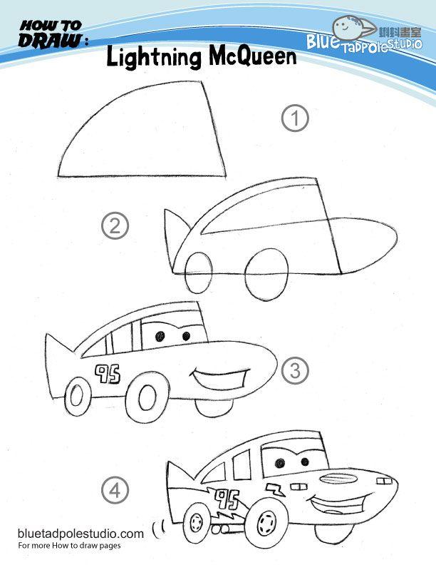 Cara Menggambar Mobil Balap the cars untuk anak tk
