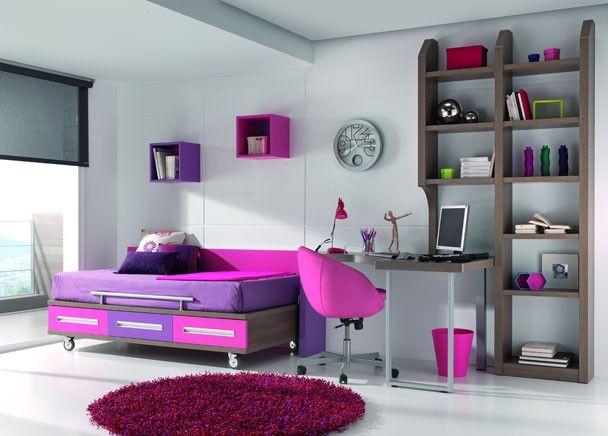 dormitorio juvenil con cama con ruedas para colch n de 90