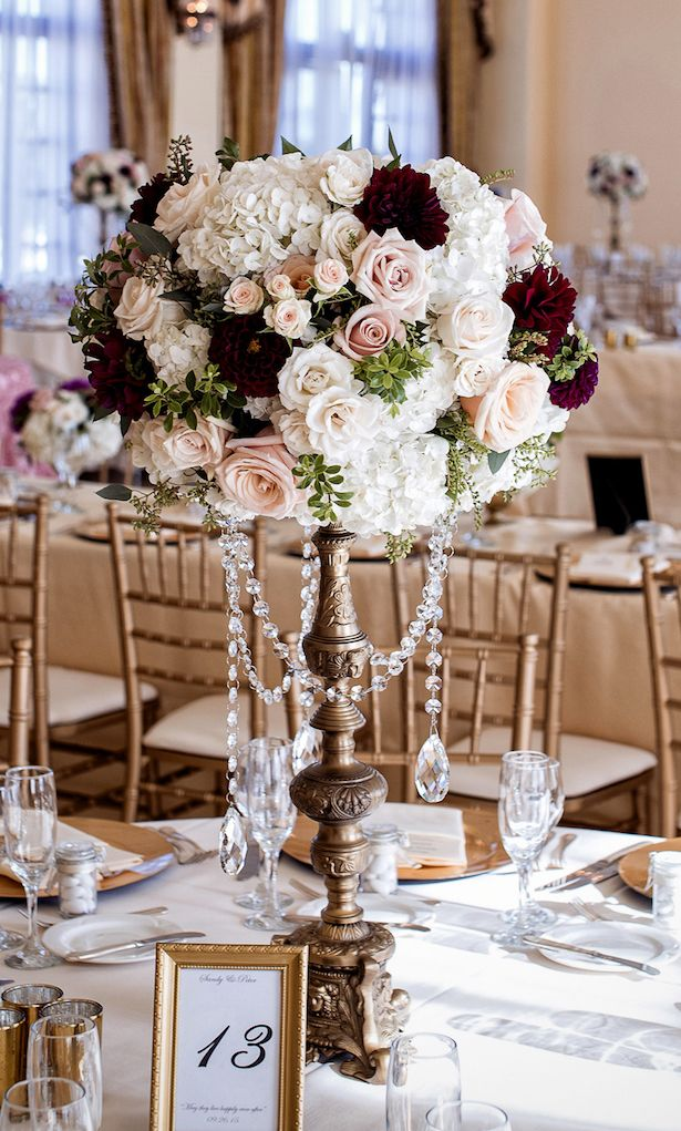 Upscale Country Club Wedding Tall wedding centerpieces