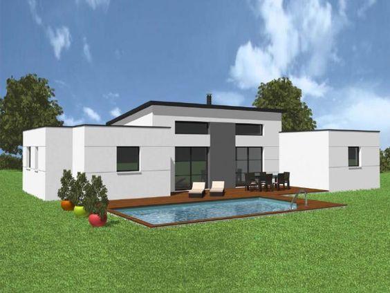 Maison contemporaine Plein pied Nino Néology façade arrière maison - maison toit en verre